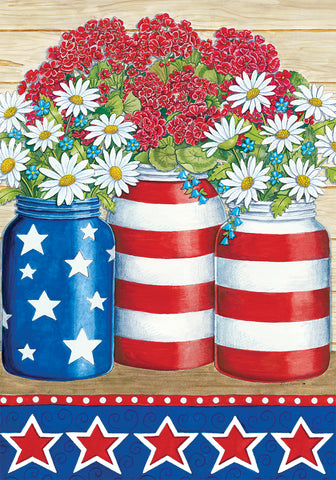 Geraniums and Daisies -Flag