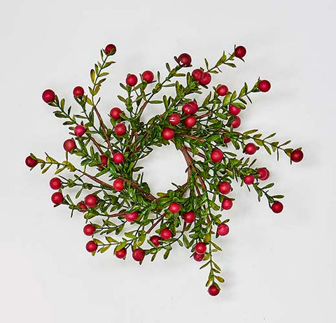 Boxwood and Berry Candle Ring
