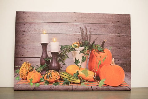 Fall Bounty w/ 2 Lit up Candles