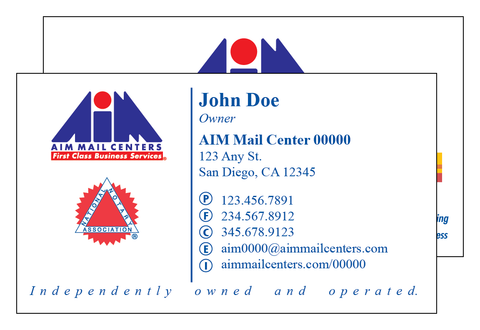 AIM Mail Centers Deluxe Business Card