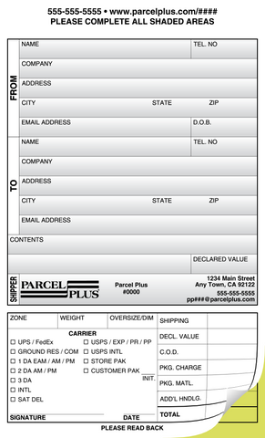 Parcel Plus Shipper Forms