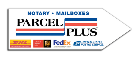 Parcel Plus Arrow Sign