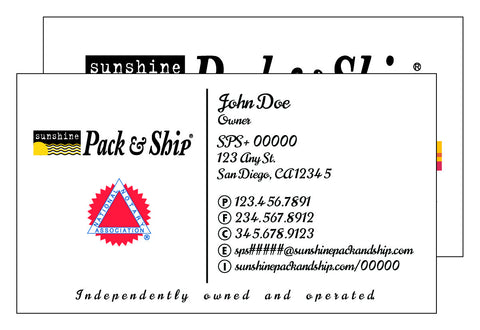 Sunshine Pack & Ship Deluxe Business Card