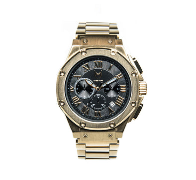 AMBASSADOR GOLD/BLACK, STAINLESS STEEL BAND