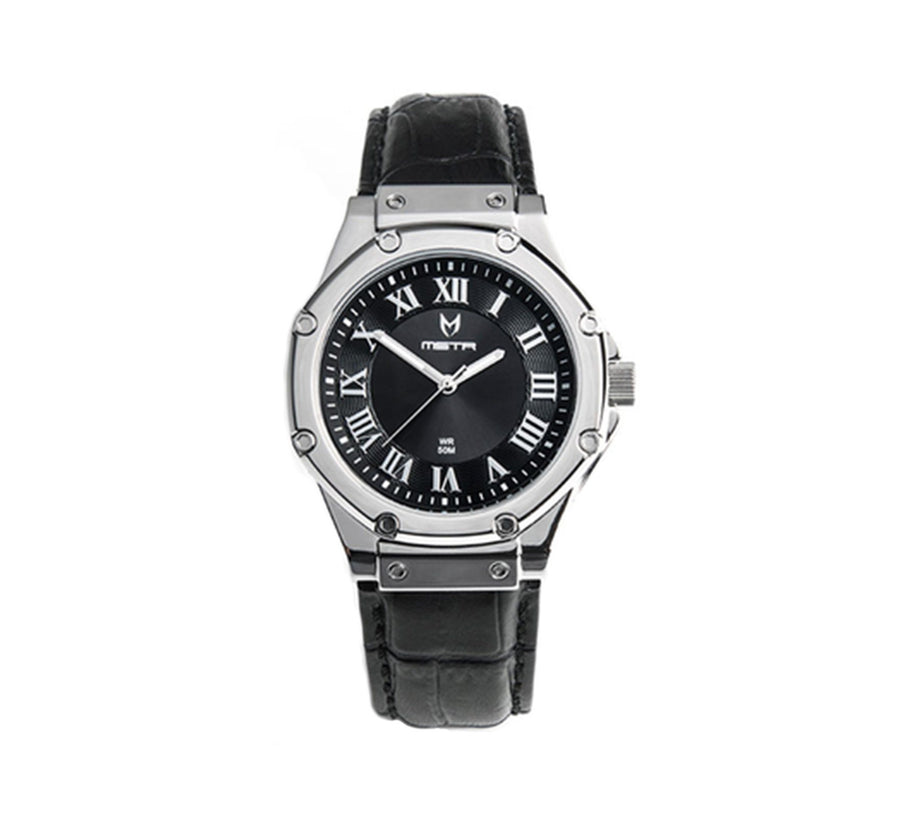 AMBASSADOR S SILVER, BLACK LEATHER BAND