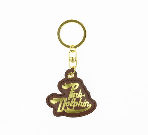 LEATHER SCRIPT KEYCHAIN, BROWN, OS