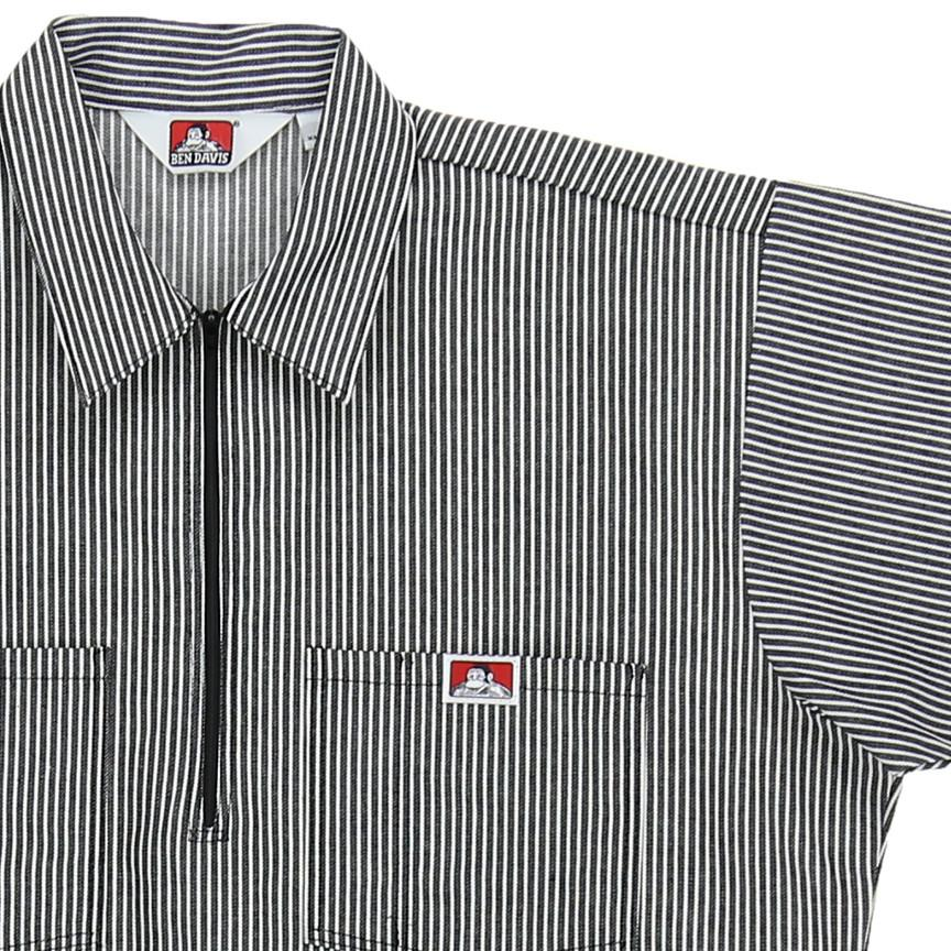 1/2 ZIP S/S STRIPED SHIRT