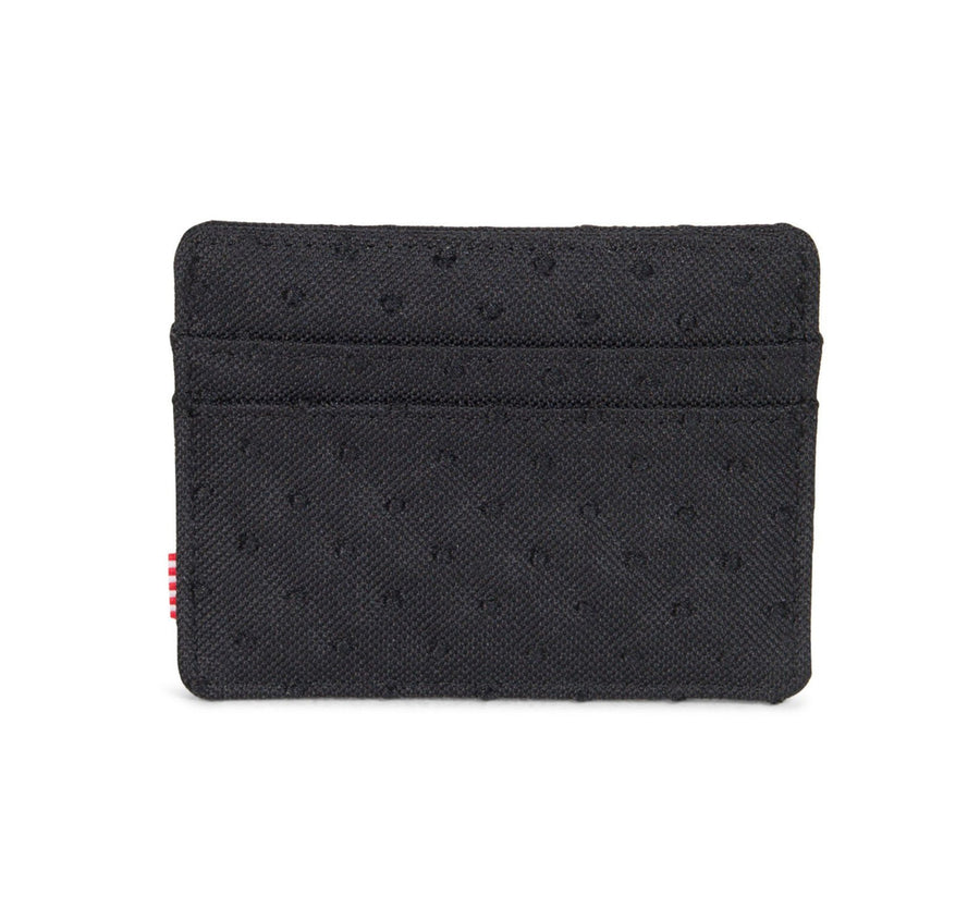 CHARLIE WALLET, BLACK/BLACK EMBROIDERY POLKA DOT