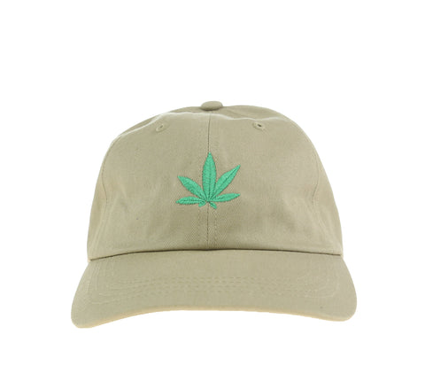 WEED LEAF DAD HAT, KHAKI