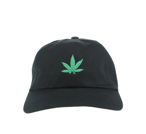 WEED LEAF DAD HAT, BLACK