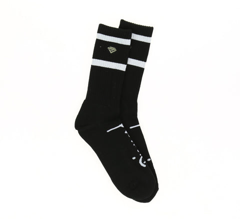 DMND HIGH STRIPE SOCKS, BLACK