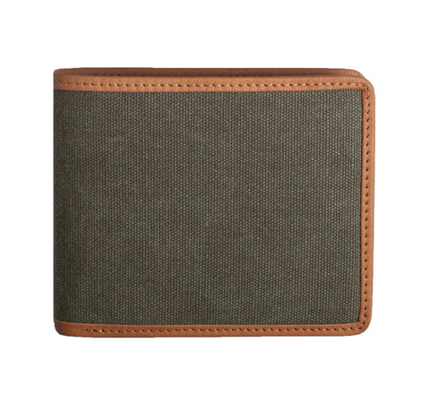 LEATHER-TRIMMED WALLET, GREEN
