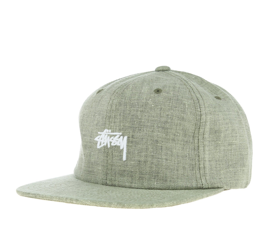 COATED LINEN STRAPBACK, GREEN