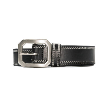 CONTRAST STITCH LEATHER BELT