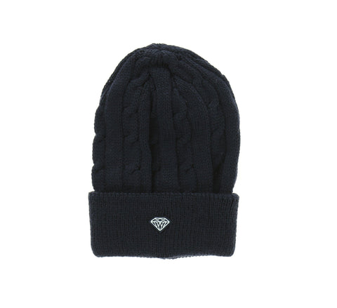 BRILLIANT CABLE KNIT BEANIE, NAVY