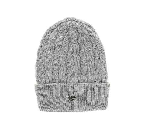 BRILLIANT CABLE KNIT BEANIE, HEATHER GREY