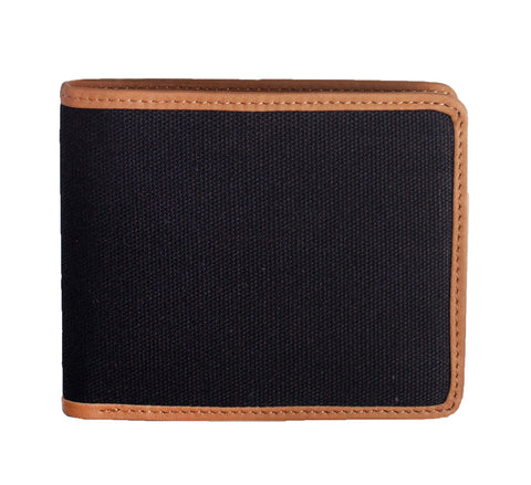 LEATHER-TRIMMED WALLET, BLACK