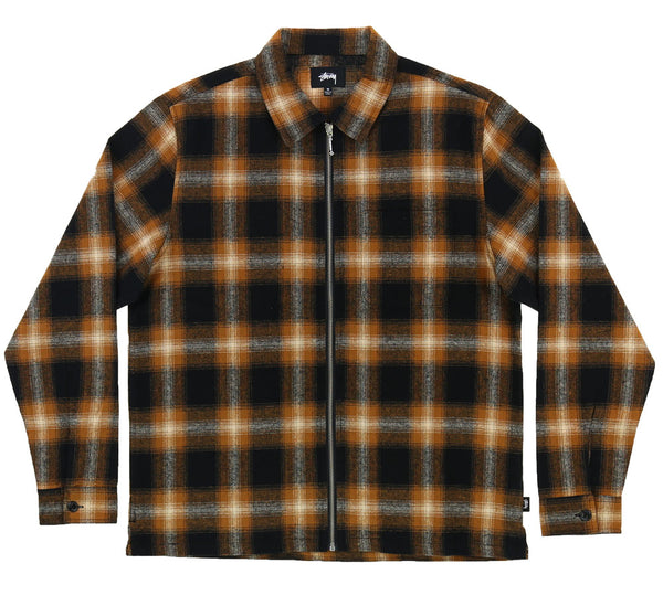 ZIP UP SHADOW PLAID LS SHIRT
