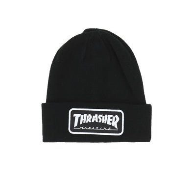 SKATE MAG LOGO PATCH BEANIE, BLACK
