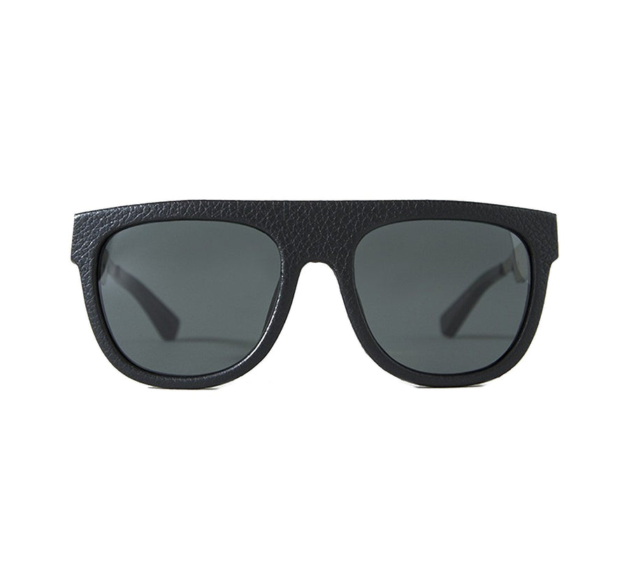 GIL SUNGLASS, LEATHER WRAP/DARK GREY