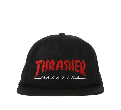 MAGAZINE LOGO TWO-TONE HAT, BLACK/RED