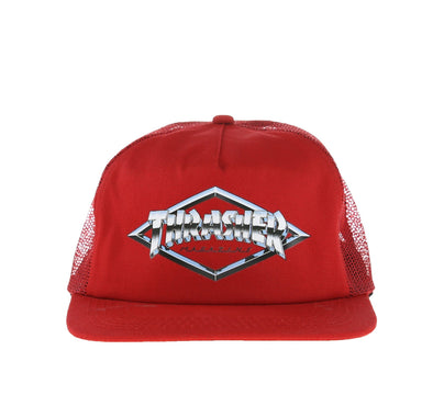 DIAMOND EMBLEM TRUCKER HAT, RED