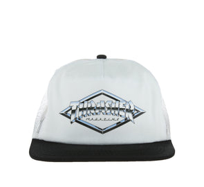 DIAMOND EMBLEM TRUCKER HAT, WHITE