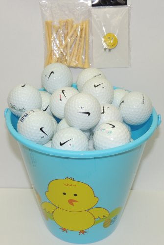 Blue Easter Pail With 48 Recycled Nike Golf Balls & Tee's & Smiley Face Magnetic Golf Ball Marker With Hat Clip