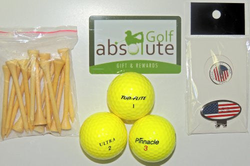 48 Yellow Mixed Golf Balls,Grade C/D With Free Tee's & Magnetic American Flag Golf Ball Marker/Hat Clip