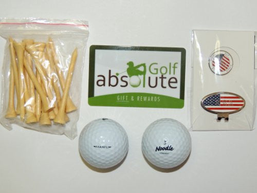 36 Maxfli Noodle Mix Recycled Golf Balls Grade A With Free Tee's & Magnetic American Flag Golf Ball Marker/Hat Clip