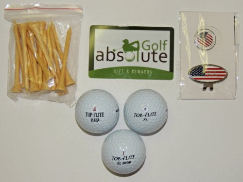 (Gift Bag) 50 Recycled Golf Balls Value Pak With Free Tee's and Magnetic American Flag Golf Ball Marker and Hat Clip