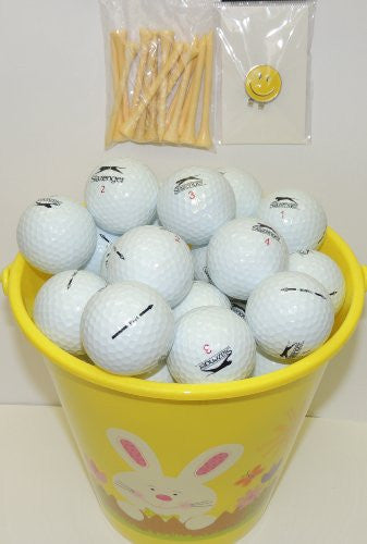 Yellow Easter Pail With 48 Recycled Slazenger Golf Balls & Tee's & Smiley Face Magnetic Golf Ball Marker With Hat Clip