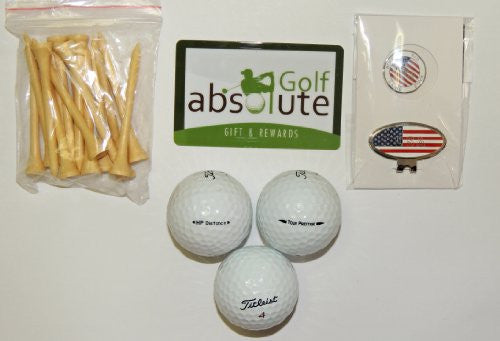 36 Titleist Recycled Golf Balls,Grade C With Free Tee's Magnetic American Flag Golf Ball Marker/Hat Clip