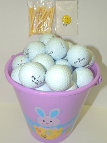Purple Easter Pail With 48 Recycled Top-Flite Golf Balls & Tee's & Smiley Face Magnetic Golf Ball Marker With Hat Clip