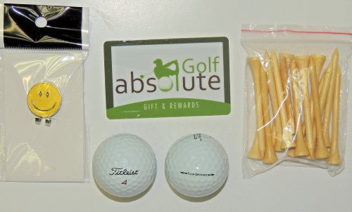 36 Titleist Tour Distance Recycled Golf Balls Grade A/B with Free Tee's & Magnetic Smiley Face Golf Ball Marker/Hat Clip