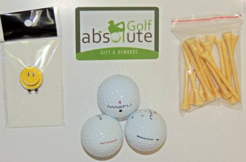 48 Maxfli Recycled Golf Balls Grade A/B With Free Tee's and Magnetic Smiley Face Golf Ball Marker/Hat Clip