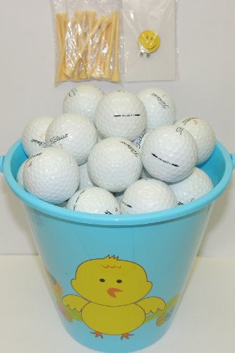 Blue Easter Pail With 48 Recycled Titleist Golf Balls & Tee's & Smiley Face Magnetic Golf Ball Marker With Hat Clip