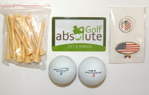 48 Pinnacle Grade A/B With Tee's & Magnetic American Flag Golf Ball Marker/Hat Clip