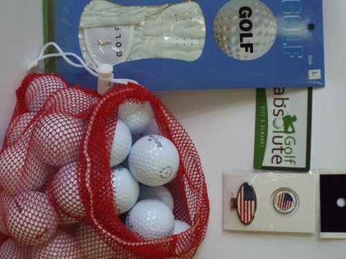 Mens Gift Box 36 Recycled Golf Balls in Mesh Bag With Free Tee's & Magnetic American Flag Golf Ball Marker/Hat Clip & Glove White Right Large Golf Glove