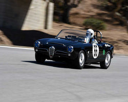 Donald Forrester with 1965 Alfa Romeo Giula Spider Veloce in Group 4B - 1961-1966 GT Cars under 2500cc at the 2015-Rolex Monterey Motorsport Reunion, Mazda Raceway Laguna Seca