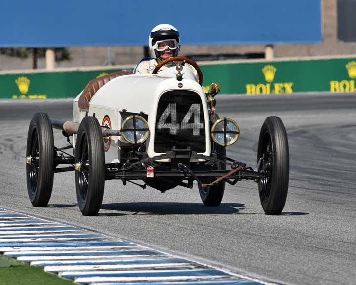 Gary Lucas with 1916 Ford Model T Racer in Group 1A - Pre 1940 Sports Racing and Touring Cars at the 2015-Rolex Monterey Motorsport Reunion, Mazda Raceway Laguna Seca