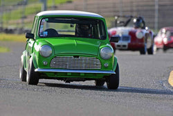 Julie Racine - 1960 Austin Mini Cooper in Group 2 - Small Displacement Production Sports Cars and GT Cars Through 1972 at the 2018 CSRG David Love Memorial run at Sonoma Raceway