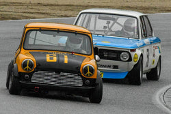 Don Racine - 1960 Austin Mini Cooper in Group 4 -  at the 2018 HMSA Spring Club Event run at Mazda Raceway Laguna Seca
