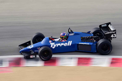 Steve Romak -  Tyrrell 012 in Group 4A - 1967-1984 Formula One at the 2018 SCRAMP Rolex Monterey Motorsports Reunion run at WeatherTech Raceway Laguna Seca