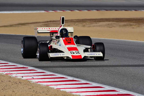 Brad Hoyt in Group 4A 1966 - 1985 Masters Historic Formula One at the 2019 Rolex Monterey Motorsport Reunion run at WeatherTech Raceway Laguna Seca