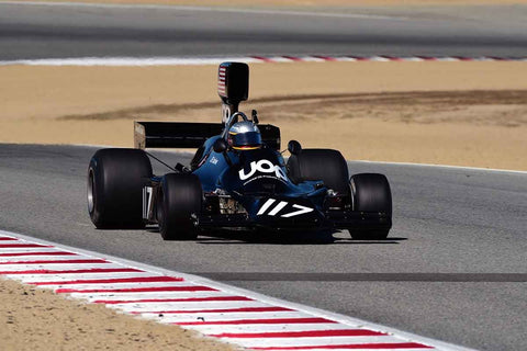 Harin de Silva in Group 4A 1966 - 1985 Masters Historic Formula One at the 2019 Rolex Monterey Motorsport Reunion run at WeatherTech Raceway Laguna Seca