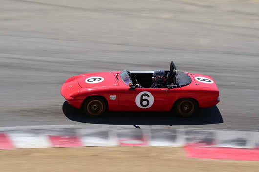 kristine casey - 1966 Lotus Elan in Group 8 Recongized series-produced sports cars and sedans in production prior to 1979 at the 2019 SVRA Trans Am Speed Fest run at Weathertech Raceway Laguna Seca