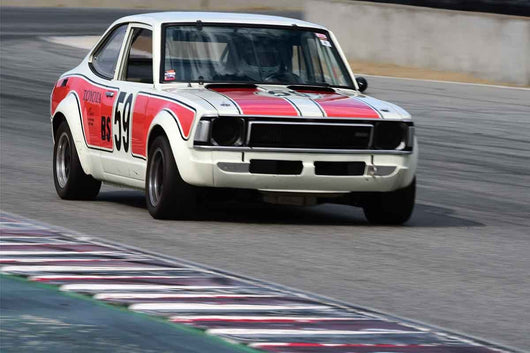 Jonathan Ornstein - 1972 Toyota Corolla in Group 8 Recongized series-produced sports cars and sedans in production prior to 1979 at the 2019 SVRA Trans Am Speed Fest run at Weathertech Raceway Laguna Seca