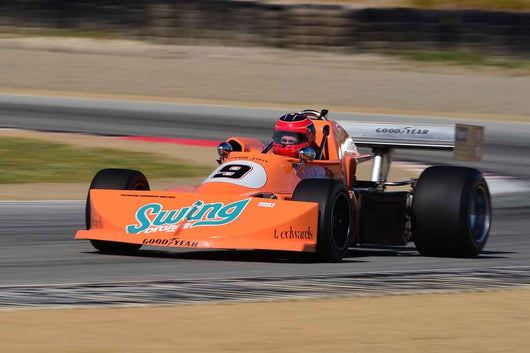 David Alvarado - 1976 March 76b in Group 9-11 Post-1973 wings and slicks Formula cars and GTP/Group C, ALMS, WSC and Grand Am cars at the 2019 SVRA Trans Am Speed Fest run at Weathertech Raceway Laguna Seca