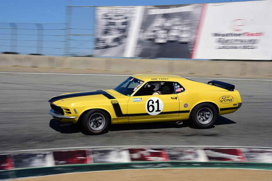 Jim Halsey - 1970 Ford Mustang Boss 302 in Group HTA Trans-Am cars raced between 1966 and 1972 at the 2019 SVRA Trans Am Speed Fest run at Weathertech Raceway Laguna Seca